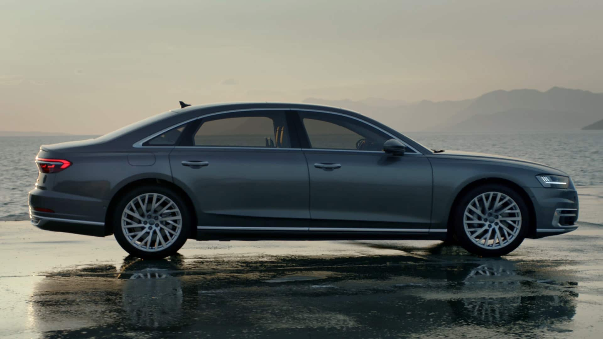 The new Audi A8 L, side view.